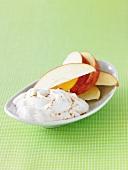 Sweet Yogurt with Apple Slices and Sprinkled Cinnamon