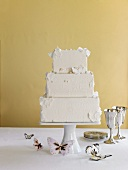 Three Tier Wedding Cake with Butterflies