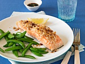 Salmon Fillet with Walnut Crust and Fresh Pea Pods