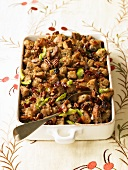 Pecan Cherry Stuffing in Baking Dish