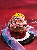A chocolate-mulled wine cupcake