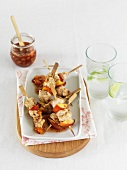 Chicken and nectarine kebabs