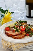 Smoked pork with a tomato and lentil salad