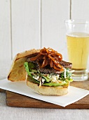 A beefburger with caramelised onions and cider