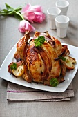Stuffed roast chicken with apple and bacon