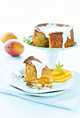 Polenta and mango cake with a white chocolate and yogurt sauce