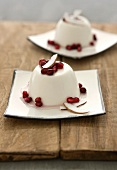 Coconut and lemongrass panna cotta with grapefruit syrup