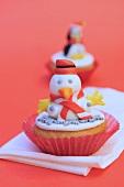 Cupcake mit Schneemann