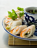 Vietnamese prawn and apple rolls with a ginger and mint dip