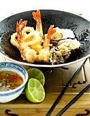 Seafood tempura with a chilli and lime dip