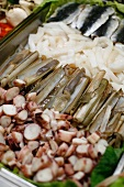 Restaurant Tapas Buffet in Zaragoza, Spain with Sardines, Squid, Razor Clams, Octopus