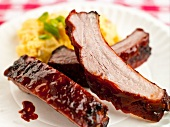 Saucy Barbecue Ribs with Potato Salad