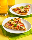 Mexican pizza with chicken, sweetcorn and pepper