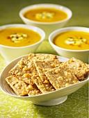 Gouda crackers and cream of pumpkin soup