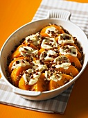 Butternut squash with marshmallows and candied walnuts