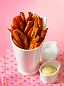 Sweet potato chips with mayonnaise