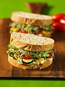 Californian sandwiches (with goat's cheese, mayonnaise, vegetables and bean sprouts)