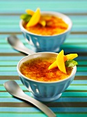 Ginger creme brulee with mango slices