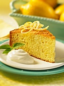 A slice of lemon and yogurt cake