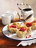 Poppy seed and pear cake with lingonberry jam
