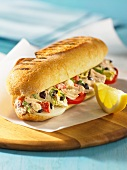 A tuna and artichoke salad sub sandwich
