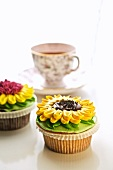 Sunflower Cupcakes; Cup of Tea