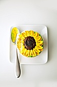 Sunflower Cupcake; From Above, Bite Removed with Spoon