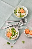 Asparagus salad with peas and salmon