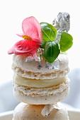 Makronen mit Whiskycremefüllung, dekoriert mit Essblüte, Sprossen und Silberfolie