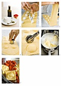 Ricotta-filled ravioli being prepared