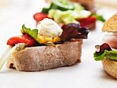Mozzarella and Roasted Pepper Sandwich; Open Face