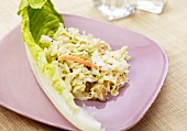 Coleslaw with Golden Raisins and a Lettuce Leaf