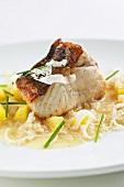Fried catfish with potatoes and horseradish