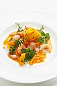Pumpkin tagliatelle with crayfish and wild herbs