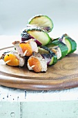 Pork and courgette kebabs with apricots
