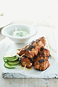 Grilled chicken kebabs with cucumber raita