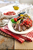Barbecue sirloin steak with mixed Mediterranean vegetables