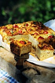 Smoked scamorza cheese and cherry tomato bread loaf