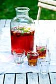 Strawberry and basil ice tea