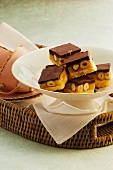 Caramel and hazelnut slices