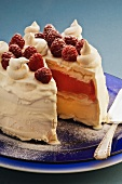 Pavlova semifreddo with raspberries