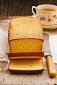 Butter cake, sliced