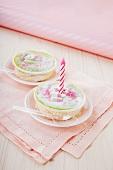 Mini Swedish tarts with birthday candles