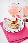 Pancakes with yogurt ice cream and rhubarb compote
