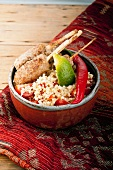 Lamb kebabs with a lime and chilli couscous