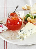 Red pepper jelly and blue cheese