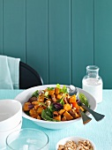 Fried sweet potato salad with a coconut dressing