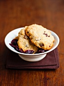 A bowl of cranberry cookies