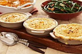 Three Mashed Potato Casseroles; Green Bean and Squash Side Dishes