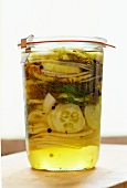 Homemade Bread and Butter Pickles in a Jar